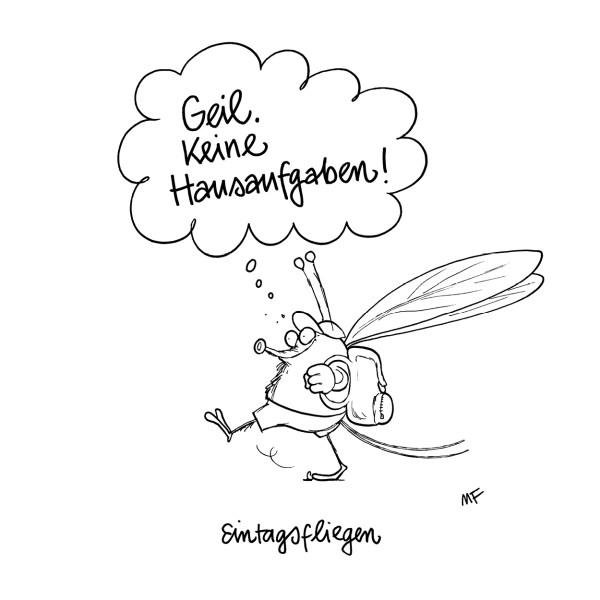"""Wandbild """"Keine Hausaufgaben"""" - Marco Finkenstein - 21. Deutscher Karikaturenpreis"""