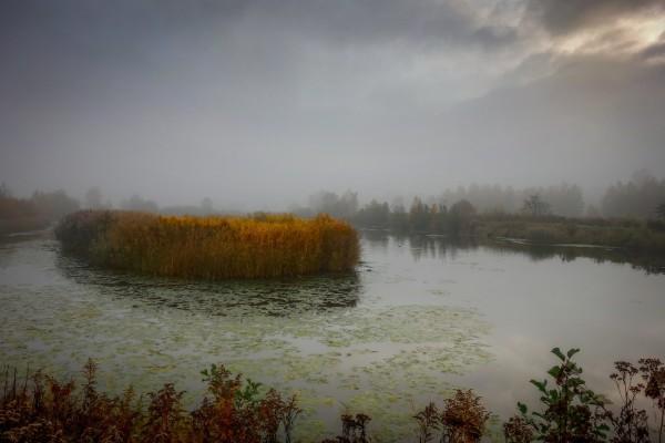 Wandbild Morgenstimmung Teichlandschaft im Hirschberger Tal (Motiv JR10)