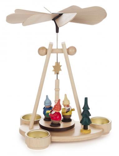 Weihnachtspyramide mit Zwergen für Teelichte