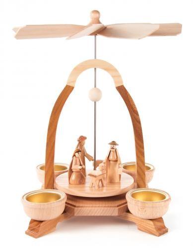 Weihnachtspyramide mit Christi Geburt für Teelichte (helle Tüllen)