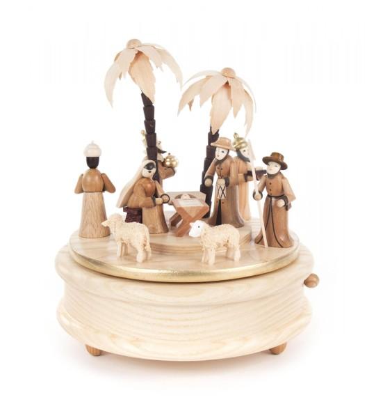 Spieldose mit Christi Geburt und Palmen, Melodie: Stille Nacht