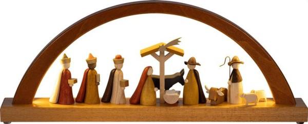 Schwibbogen Christi Geburt farbig, neues Design, LED-Beleuchtung