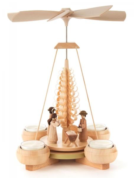 Weihnachtspyramide mit Christi Geburt, für Teelichte