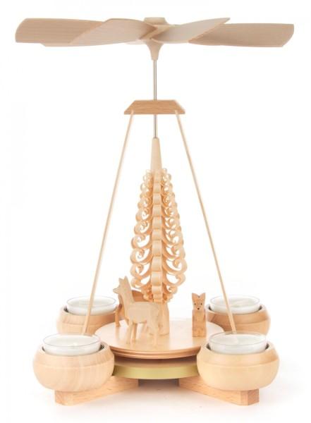 Weihnachtspyramide mit geschnitzten Rehen, für Teelichte