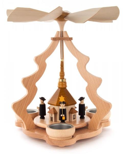 Weihnachtspyramide mit Seiffener Kirche und Kurrende, für Teelichte