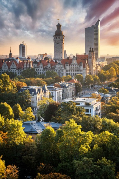 Wandbild Leipzig - Herbstliche Skyline (Motiv PK05)