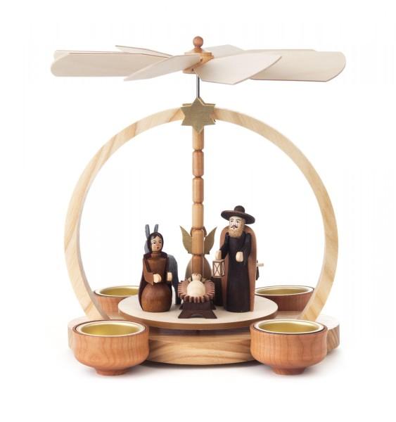 Weihnachtspyramide mit Christi Geburt für Teelichte