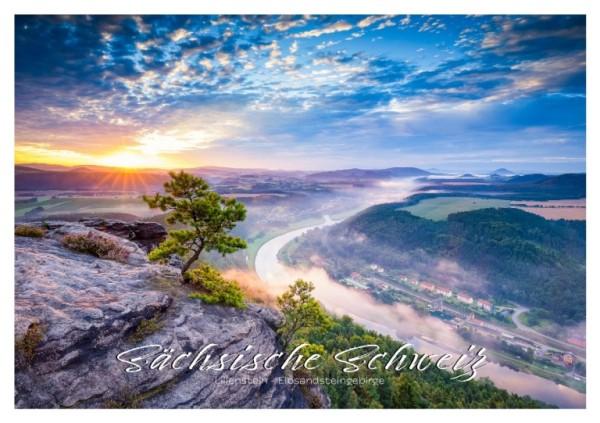 Postkarte Sächsische Schweiz - Baum in Blau (Motiv PO_SSW_9)