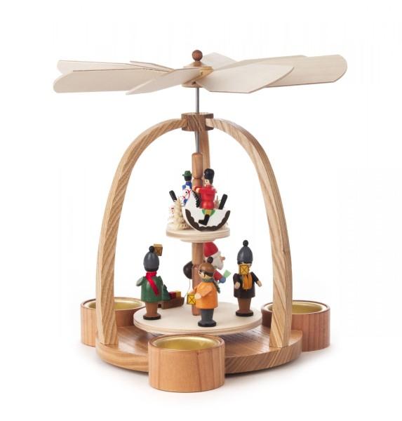 Weihnachtspyramide mit Weihnachtsmann und Reiterlein, 2-stöckig, für Teelichte