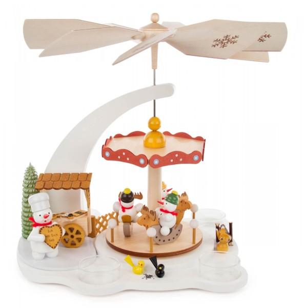"""Weihnachtspyramide weiß """"Schneemann-Karussell"""", für Teelichte - Exklusiv"""