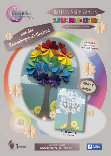 Basteln nach Zahlen - Regenbogen-Baum
