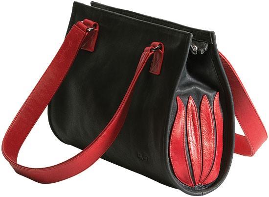Linde Van der Poel: Handtasche Black and Red Tulip