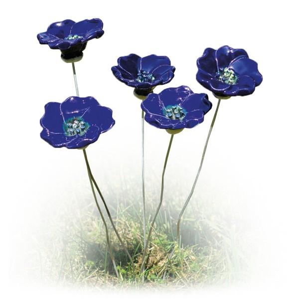 Gartenstecker-Blumenset Blüten - 5-teilige Keramik