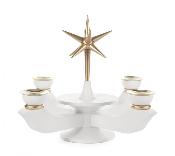 Adventsleuchter mit Stern weiß klein, für Kerzen Durchmesser 17mm