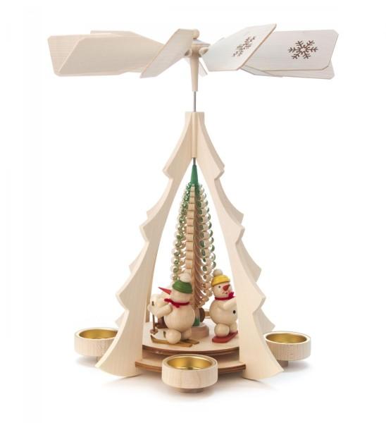 Weihnachtspyramide Schneemänner für Teelichte