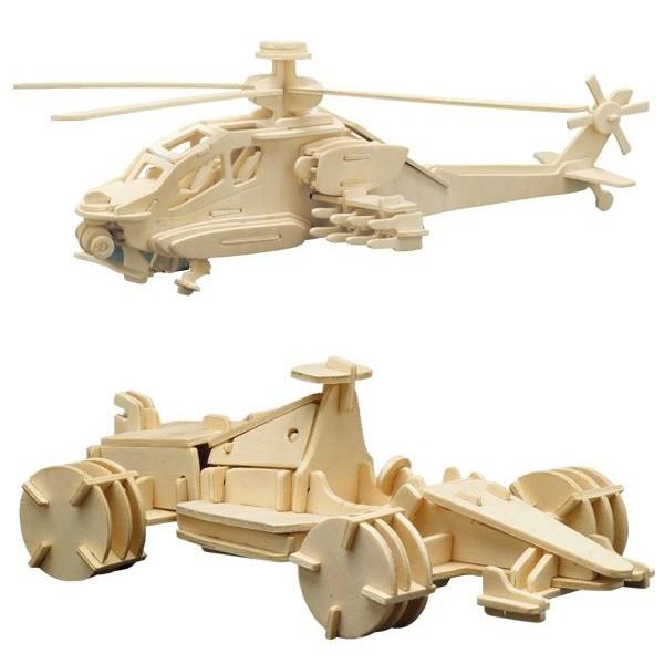 Holzbausatz-Set Formel 1 & Hubschrauber