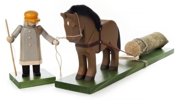 Räuchermann Holzrücker mit Pferd Limitierte Sammlerauflage (100 Stück)