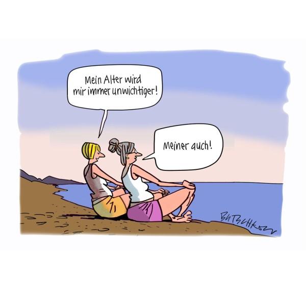 """Wandbild """"Yoga"""" - BUTSCHKOW - 21. Deutscher Karikaturenpreis"""