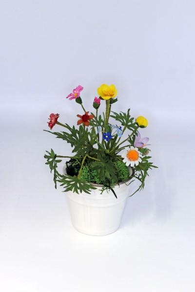 Glückstöpfchen mit Wiesenblumen