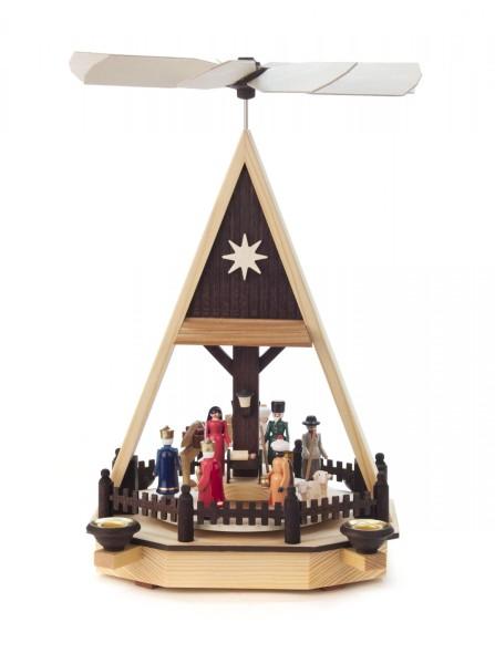 Weihnachtspyramide Christi Geburt farbig für Kerzen Durchmesser 14mm