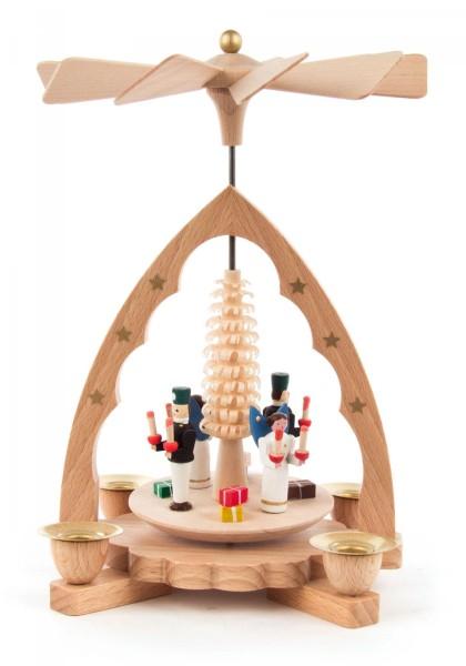 Weihnachtspyramide Engel und Bergmann natur für Kerzen Durchmesser 10mm