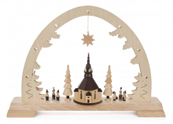 Schwibbogen mit Seiffener Kirche mit LED Beleuchtung - Exclusiv