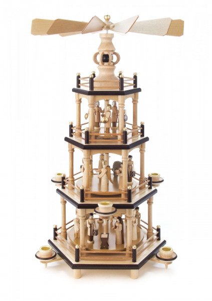 Pyramide mit Christi Geburt natur 3-stöckig für Kerzen Durchmesser 14mm