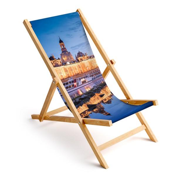 Liegestuhl Dresden - Skyline zur Blauen Stunde (Motiv 00408)