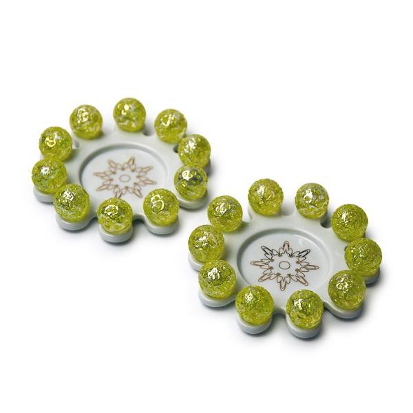 Glasperlenstern - Kleiner Zehner - Sternenstaub (grün) - 2er Set