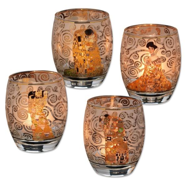 Gustav Klimt: 4 Teelichtgläser mit Künstlermotiven im Set