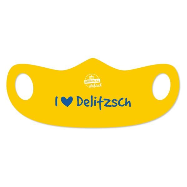 DDV Lokal - Original Sächsisch - Mund- und Nasenmaske - I love Delitzsch