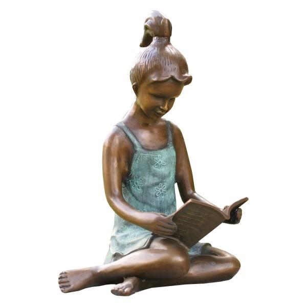 Gartenskulptur Lesendes Mädchen Bronze