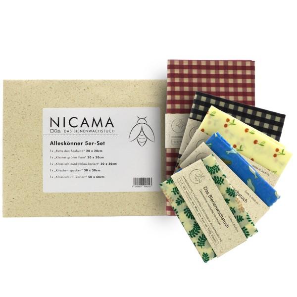 NICAMA Bienenwachstücher Alleskönner-5er-Set