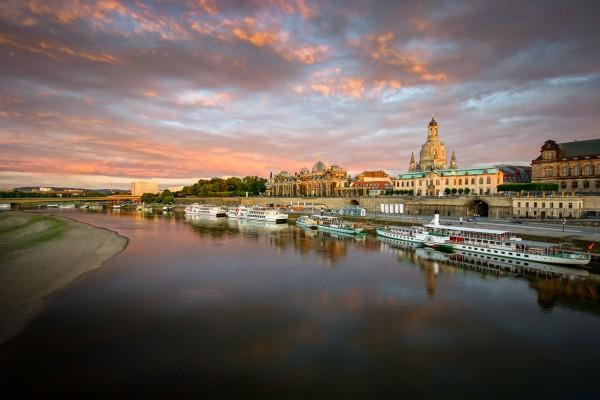 Wandbild Dresden - Abendstimmung - Blick auf die Dresdner Altstadt (Motiv JR102)