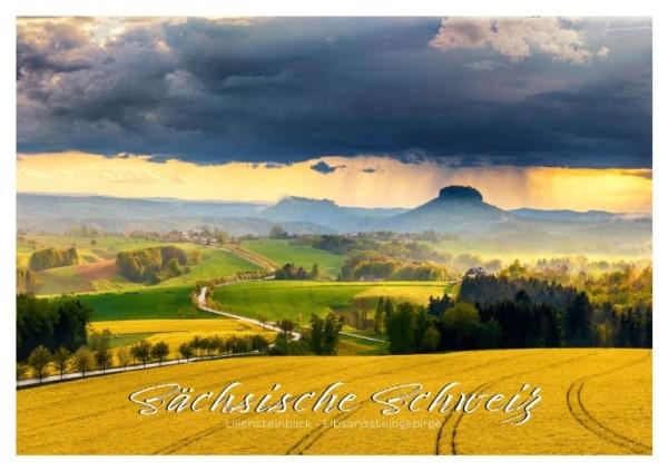 Postkarte Sächsische Schweiz - Lilienstein mit Rapsfeld (Motiv PO_SSW_8)