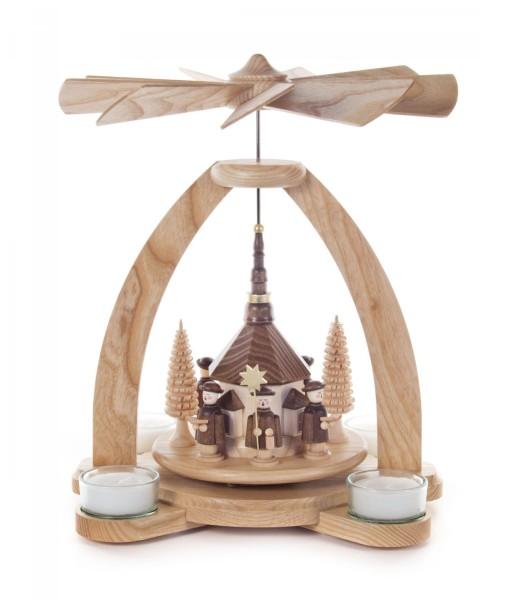 Weihnachtspyramide mit Seiffener Kirche und Kurrende für Teelichte