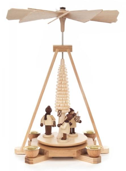 Weihnachtspyramide mit Laternenkindern natur